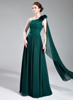 Vestidos princesa/ Formato A Um ombro Vestidos longo Chiffon Charmeuse Vestido de festa com laço Bordado fecho de correr (017019727)