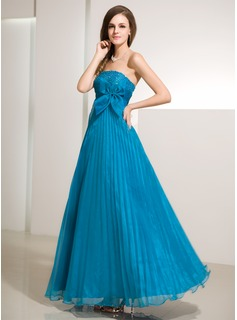 A-Line/Princess Strapless Floor-Length Organza Prom Dress With Ruffle Beading Bow(s)