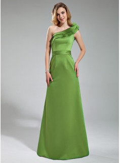 A-Line/Princess One-Shoulder Floor-Length Satin Bridesmaid Dress