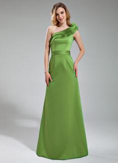 Wąska Jednoramienna Do Podłogi Satin Suknia dla Druhny