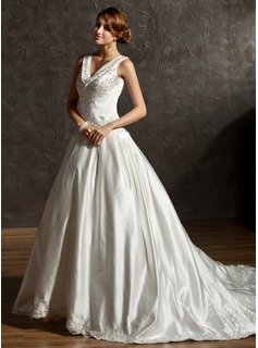 Ball-Gown V-neck Chapel Train Satin Wedding Dress With Embroidery Beadwork Sequins