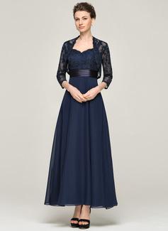 Linia A/Księżniczka Kochanie Do Kostek Chiffon Charmeuse Lace Suknia dla Mamy Panny Młodej