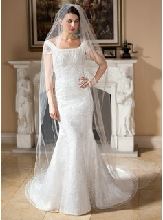 Mermaid Square Neckline Court Train Satin Lace Wedding Dress With Beadwork