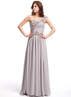 Vestidos princesa/ Formato A Um ombro Vestidos longo Chiffon Vestido de baile com Pregueado Beading (018025307)