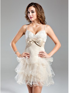 Empire Sweetheart Short/Mini Satin Tulle Homecoming Dress With Lace Bow(s) Cascading Ruffles