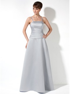 A-Line/Princess Floor-Length Satin Bridesmaid Dress With Ruffle