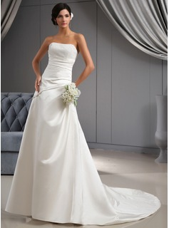 A-Line/Princess Sweetheart Court Train Satin Wedding Dress With Ruffle Beadwork (002022673)