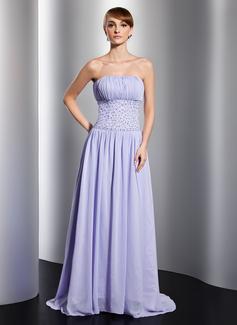 A-Linie/Princess-Linie Trägerlos Gericht Schleppe Chiffon Abendkleid mit Rüschen Perlen verziert Pailletten