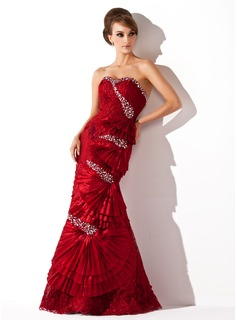 Trumpet/Mermaid Sweetheart Floor-Length Taffeta Lace Prom Dress With Beading