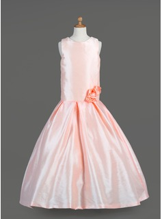 A-Line/Princess Floor-length Flower Girl Dress - Taffeta Sleeveless Scoop Neck With Flower(s)