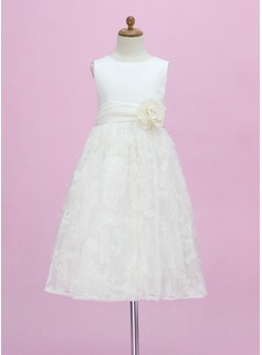A-Line/Princess Scoop Neck Ankle-Length Satin Tulle Flower Girl Dress With Flower(s) Bow(s)