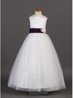 A-Line/Princess Scoop Neck Floor-Length Satin Tulle Flower Girl Dress With Sash Flower(s)