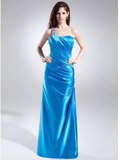 Sheath/Column One-Shoulder Floor-Length Charmeuse Prom Dress With Ruffle Appliques
