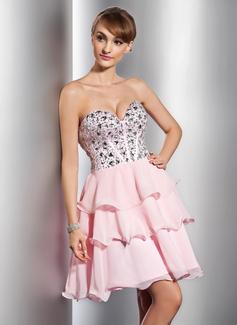 A-Line/Princess Sweetheart Short/Mini Chiffon Homecoming Dress With Beading Sequins Cascading Ruffles