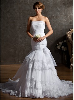 Trumpet/Mermaid Strapless Chapel Train Satin Organza Wedding Dress With Ruffle Beading Bow(s)