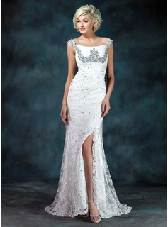 Sheath Off-the-Shoulder Sweep Train Chiffon Charmeuse Lace Mother of the Bride Dress With Ruffle Beading Sequins
