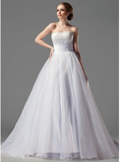 Ball-Gown Sweetheart Court Train Organza Satin Wedding Dress With Ruffle Lace