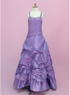 A-Line/Princess Sweetheart Floor-Length Taffeta Flower Girl Dress With Ruffle Beading