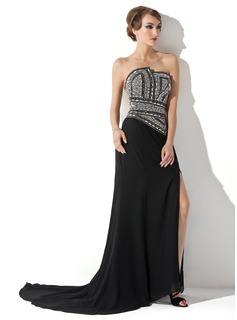 Sheath Scalloped Neck Court Train Chiffon Evening Dress With Beading