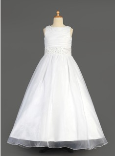 A-Line/Princess Scoop Neck Floor-Length Organza Charmeuse Flower Girl Dress With Ruffle Beading Sequins