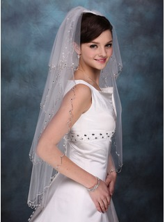 Four-tier Fingertip Bridal Veils With Beaded Edge