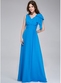 A-Line/Princess V-neck Floor-Length Chiffon Evening Dress With Ruffle Bow(s)