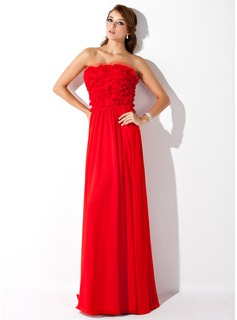 A-Line/Princess Strapless Floor-Length Chiffon Tulle Prom Dress With Ruffle
