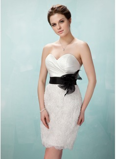 Sheath/Column Sweetheart Short/Mini Organza Cocktail Dress With Ruffle Sash Flower(s)
