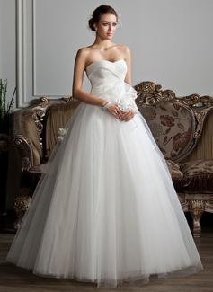 Balklänning Hjärtformad Golvlång Organzapåse Tyll Bröllopsklänning med Rufsar Pärlbrodering Blomma (or)