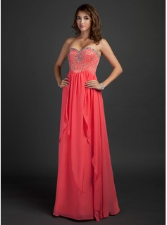 Empire Sweetheart Floor-Length Chiffon Prom Dress With Beading (018015340)