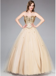 Ball-Gown Sweetheart Floor-Length Satin Tulle Prom Dress With Beading