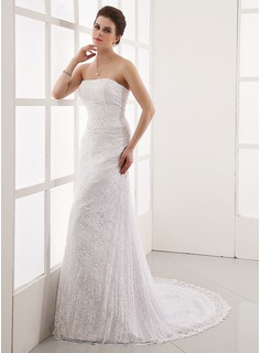 A-Line/Princess Strapless Court Train Satin Lace Wedding Dress With Beading