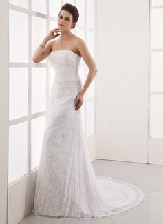 Vestidos princesa/ Formato A Sem Alças Cauda de sereia Cetim Renda Vestido de noiva com Bordado