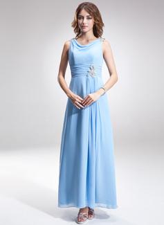 A-Linie/Princess-Linie Cowl Neck Knöchellang Chiffon Kleid für die Brautmutter mit Rüschen Perlen verziert