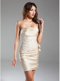 Sheath Strapless Short/Mini Satin Cocktail Dress With Ruffle Lace Flower(s)