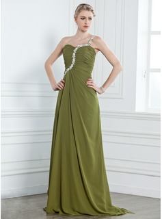 A-Line/Princess One-Shoulder Sweep Train Chiffon Evening Dress With Ruffle Beading Appliques