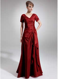 A-Line/Princess V-neck Floor-Length Taffeta Mother of the Bride Dress With Beading Sequins Cascading Ruffles