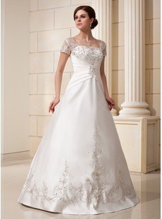 A-Line/Princess Square Neckline Floor-Length Satin Tulle Wedding Dress With Embroidered Ruffle Beading Sequins
