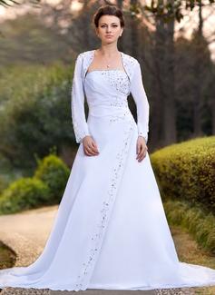 A-linjeformat Axelbandslös Chapel släp Chiffong Bröllopsklänning med Rufsar Pärlbrodering Paljetter
