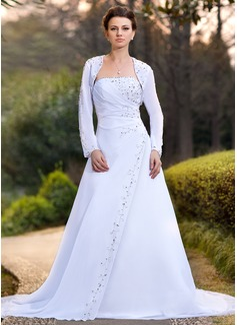 Vestidos princesa/ Formato A Sem Alças Cauda longa De chiffon Vestido de noiva com Pregueado Bordado Lantejoulas