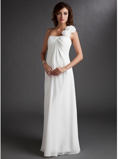 Empire One-Shoulder Floor-Length Chiffon Chiffon Maternity Bridesmaid Dress With Ruffle Flower(s)