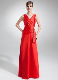 Çan/Prenses V Yaka Uzun Etekli Charmeuse Gece Elbisesi Ile Büzgü Kristal Broş