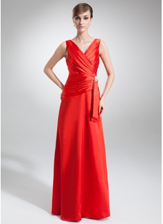 Vestidos princesa/ Formato A Decote V Longos Charmeuse Vestido de festa com Pregueado Pino flor crystal