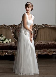 Corte A/Princesa Escote Cuadrado Hasta el suelo Tul Vestido de novia con Volantes Bordado