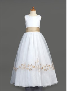 A-Line/Princess Scoop Neck Floor-Length Organza Satin Flower Girl Dress With Embroidered Ruffle Sash
