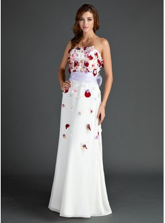 A-Line/Princess Strapless Floor-Length Chiffon Organza Holiday Dress With Sash Beading Flower(s) Bow(s)