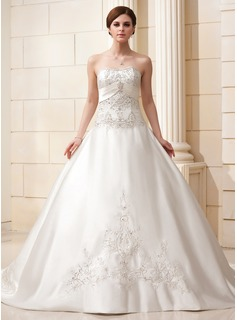 Ball-Gown Sweetheart Cathedral Train Satin Wedding Dress With Embroidered Beading