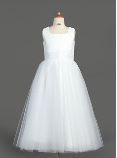 A-Line/Princess Square Neckline Tea-Length Tulle Sequined Flower Girl Dress With Ruffle