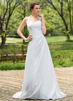 Forme Princesse Dos nu Traîne moyenne Taffeta Robe de mariée avec Plissé