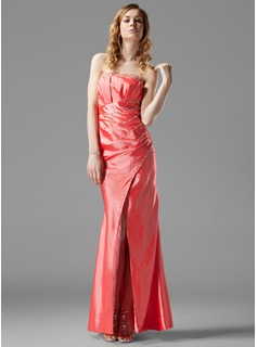 Sheath Strapless Floor-Length Taffeta Evening Dress With Ruffle Beading